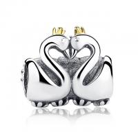 Solid Hugged Tightly Swan Matching Couple Jewelry Charm Bead 925 Sterling Silver