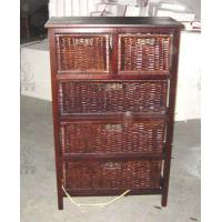China Antique Pine Solid Wood Storage Cabinet With Willow Wicker Baskets on sale