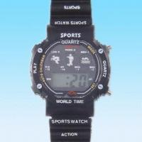 Quality Multifunctional LCD Watch with Plastic Strap for sale