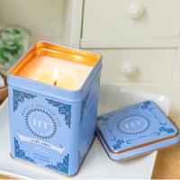 Quality Home Bar Decoration Scented Tin Candles With Metal Lids Hand Painted Glassware for sale