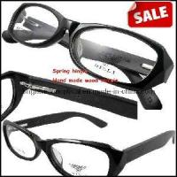 Quality Spring Hinge Black Grey Acetate Frame Wood Temple Optical Frame (6047) for sale