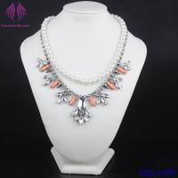 China Fashion crystal Leaf Clover Charm necklace white pearl chain Necklace on sale