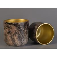 Best Bark Water Transfer Printing Handmade Ceramic Candle Holders with Golden Plating Inside wholesale