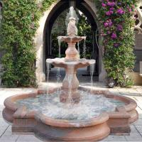 Quality Large Outdoor Water Feature Custom Red Marble Stone Garden Water Fountain With Pool for sale