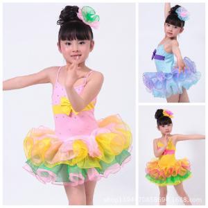 China Children's veil Latin performance sequins dance costume Girls dancing princess dress suit on sale