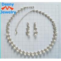 Best Rhinestone and Gemstone Jewelry Crystal Chain Necklace and Earring Set for Anniversary wholesale