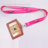 Best Sub printing neck lanyard with leather id badge, 2 sides sub print flat lanyards, wholesale