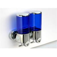 China Stainless Steel Blue Liquid Soap Dispenser Double Head Transparent Without Scale on sale