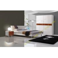 China metal feet double bed, nightstand and wardrobe, high gloss bedroom furniture on sale