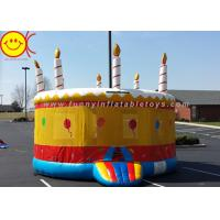 China 0.55mm PVC Birthday Cake Inflatable Bounce House Jumper Combo Bouncer For Kids Play on sale