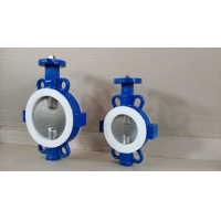 Quality DN100 PTFE Seated Ductile Iron Split Wafer Butterfly Valve for sale