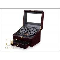 China PU Leather 4 Piece Battery Powered Watch Winder Boxes With Tempering Glass Top on sale