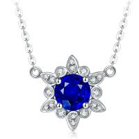 18k Solid Gold Real Gemstone Jewelry With Diamond Sapphire Mothers Necklace