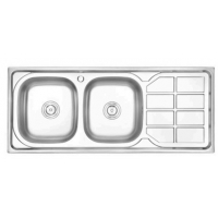 Buy cheap 120*50CM double bowl double drain plating or satin stainless steel kitchen sink from wholesalers