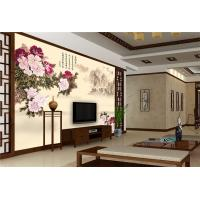 Peony Bamboo Fiber Fiber Wall Panels Crystal Surface For Restaurant Background