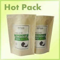 Best 3 Side Heat Sealed Natural Kraft Paper Stand Up Zip Pouches For Foods Long Life wholesale