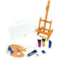 Quality 21pcs Art Painting Set With Table Easel / Palette / Canvas / Brushes / Colors for sale
