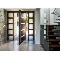 China 5mm Tempered Glass Solid Wood Doors Front Pivot Doors Protects Against Insects on sale