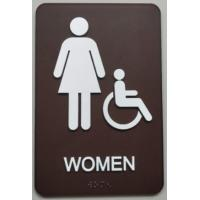 Quality Acrylic Panel Disabled Signage, Grade II Brown Womens ADA Restroom Sign for sale