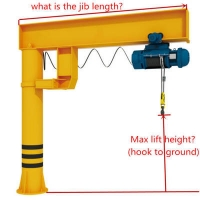 Quality 360 degree 8t 9t Pillar Jib Crane With Chain Electric Hoist for sale