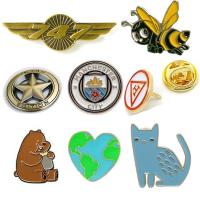 Quality Custom made various design metal badges like flag enamel football military anime bee beer cat cap star shape gold wing p for sale
