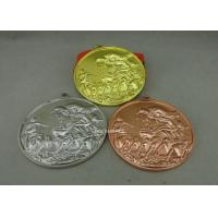Best Zinc Alloy Customized Ribbon Medals , 3D Sports Running Medals With Gold Plating wholesale