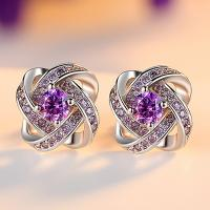 China Fancy silver plated beautiful gemstone AAA zircon  stud earrings on sale