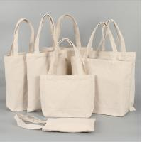 Quality Collapsible Cotton Canvas Shopper Tote Bag Beige Color For Young Women for sale
