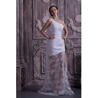 Quality Chic One Shoulder Mermaid Lace Chiffon White Long Evening Party Gowns With Sash for sale