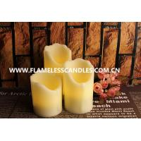 Best Flameless LED Dripping Candles With Real Wax In Ivory , Set of 3 wholesale