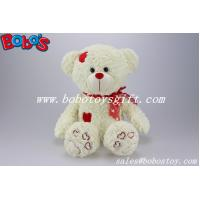 China Beige Plush Softest Cuddly Stuffed Teddy Bear With Red Heart Patch on sale