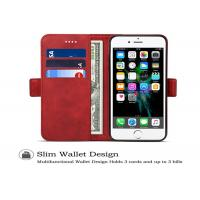 Quality 7*4.2*1 Inches Genuine Leather Phone Case With Stand Holder , Wallet Design for sale