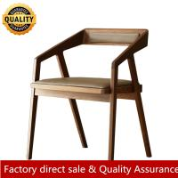 China Geometry wood chair wood dining chair for restaurant hotel modern  leather solid wood arm dining chair hot sale chair on sale