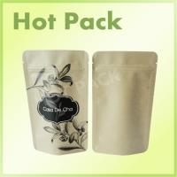 Quality Customized 16oz Natural Kraft Paper Stand Up Pouches Packaging With Window for sale