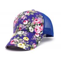 Quality Flower Breathable Mesh Trucker Cap Acrylic Material Adjustable Size For Sports for sale
