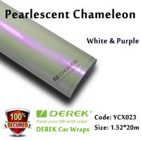 Quality Satin Pearl White Car Wrapping Vinyl Film - White & Purple Color Changing for sale