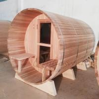 Best Cedar outdoor barrel sauna kits 1800*1800*2400MM  with 8MM Tempered glass door wholesale
