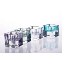 China Glass Tealight Candle Holder For Decoration , Soda Lime Glass Square Candle Holder on sale