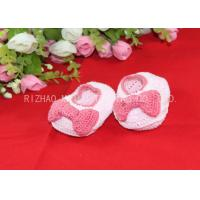 China Pink Bows Accessories Handmade Crochet Baby Shoes For Girls , Knitted Baby Shoes on sale