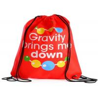 Quality Non Woven Printed Drawstring Bags Custom Printed Handle With Thin Straps for sale