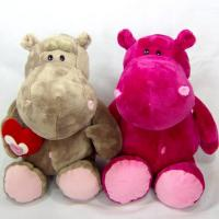 Quality Sitting Pose Grey and Pink Hippo Plush Toys for sale