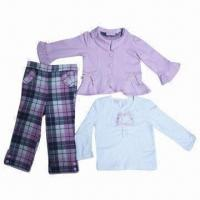 China 6M to 7-year Baby Clothing Set, 100% Cotton French Terry Jacket/Jersey Top and Woven Plaid Pants on sale