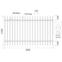 Quality Press Spear Top 19mmx19mm 2 Rails x 40mm H1200mmxW2450mm Hercules Fencing for sale