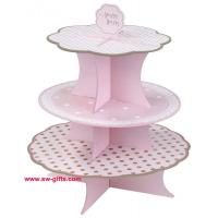 China Fashion Colorful Design 3 Tier Paper Cardboard Cupcake Stand,Wholesale Wedding Cake Stand on sale