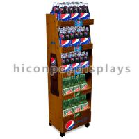 Best Movable Solid Wood Cola Display Stand Freestanding Drinks Shop Merchandising Display wholesale