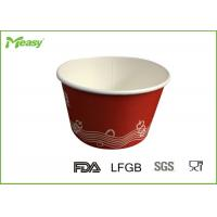 Quality Red Disposable Paper Bowl for Frozen Yogurt , 14oz paper ice cream cups for sale