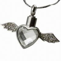 Quality Gold-plated Pet Cremation Jewelry Winged Cross Pendant/Urns Pendant for sale