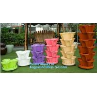Quality PP Plastic materials hydroponic vertical tower stackable plastic garden pots,vertical tower farming use stacking planter for sale