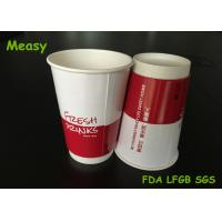 Red And White personalized paper cups , double wall disposable coffee cups