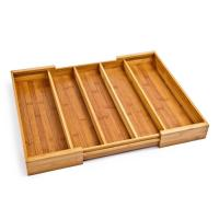 Quality Multipurpose Design Bamboo Expandable Cutlery Tray 5 Large Compartment for sale
